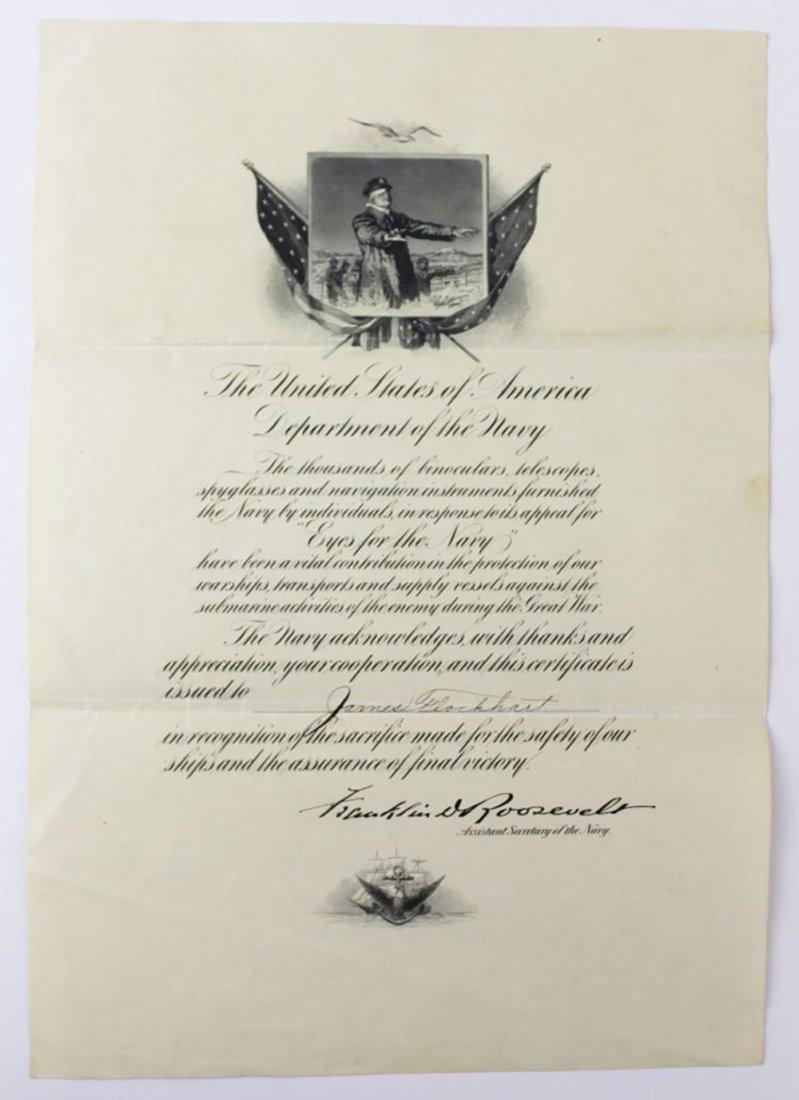 Franklin D. Roosevelt Boldly Signed Navy Presentation