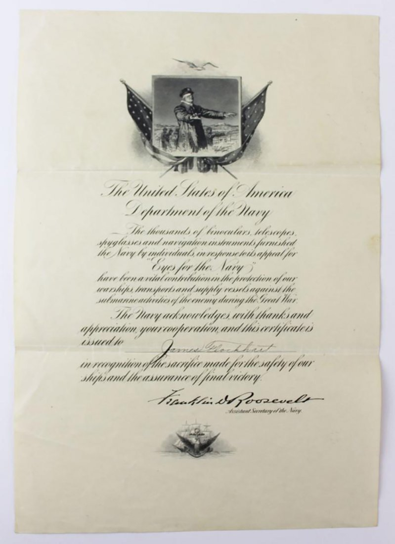 Franklin D. Roosevelt Boldly Signed Navy Presentation