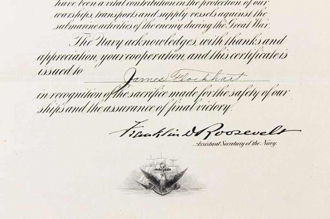 Franklin D. Roosevelt Boldly Signed Navy Presentation - 5