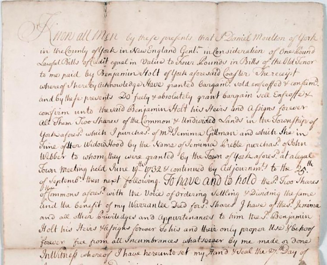 American Colonel Jeremiah Moulton Signed Document 1742