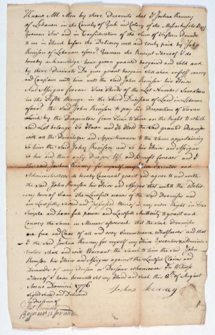 1776 Land Deed Signed After the Start of the Revolution