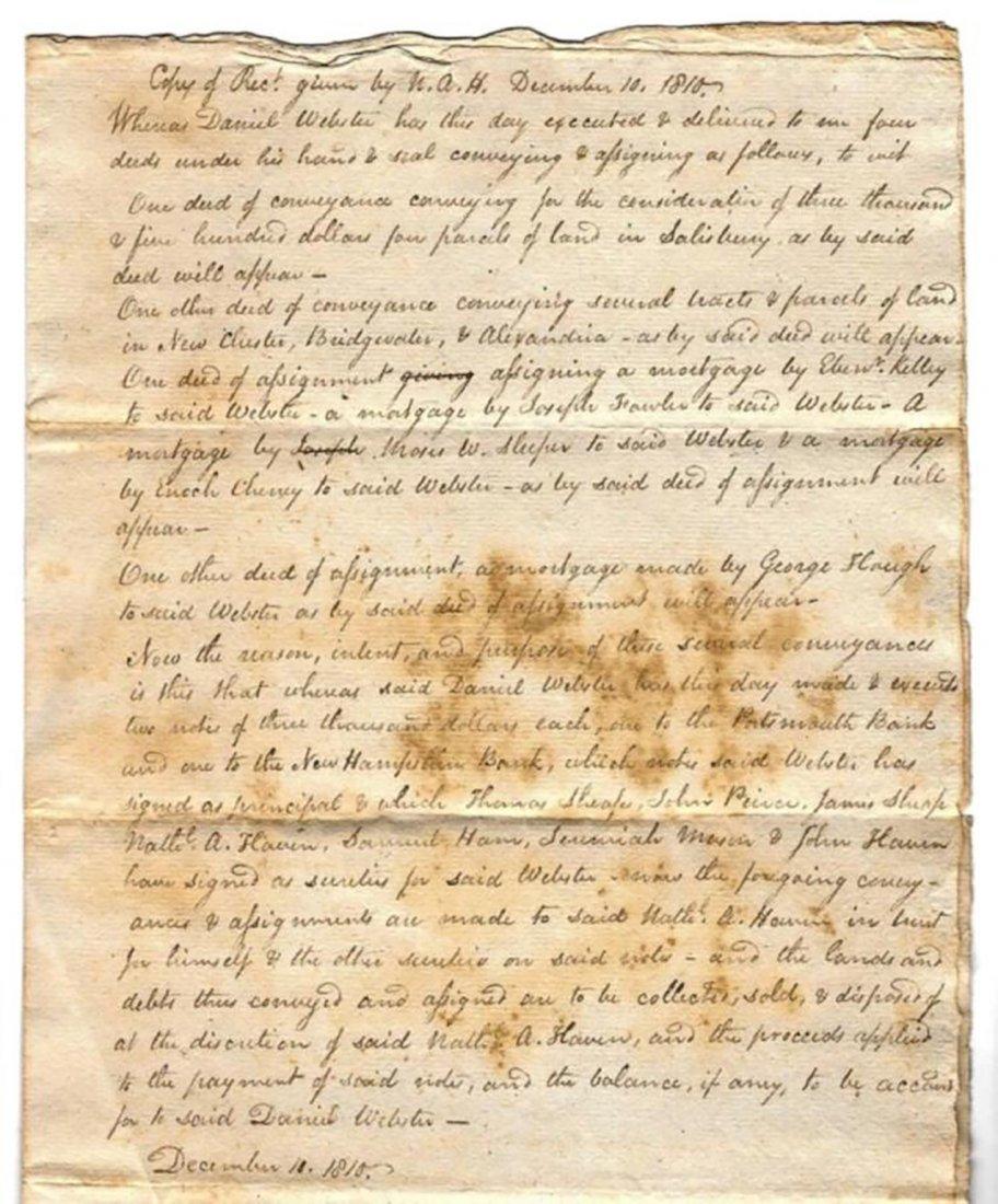 Daniel Webster - Receipt for Deeds by Daniel Webster