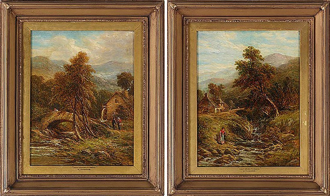Pair of 19th Century Thomas Henry Landscape Oil