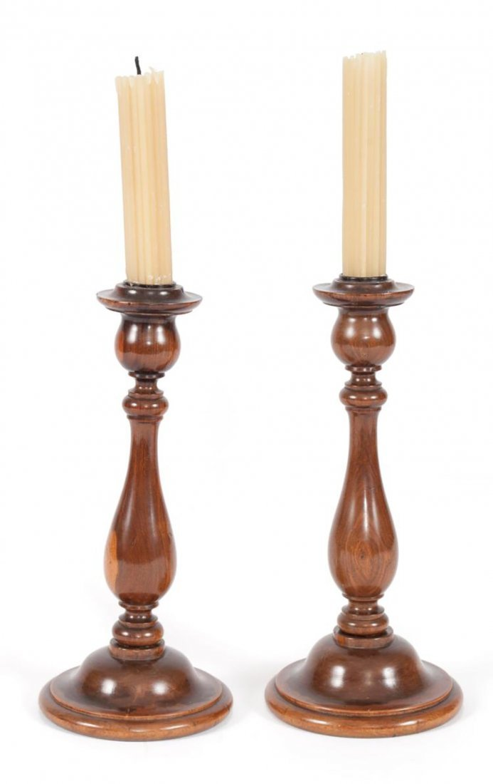 Pair of George III English Lignum Vitae Candlesticks