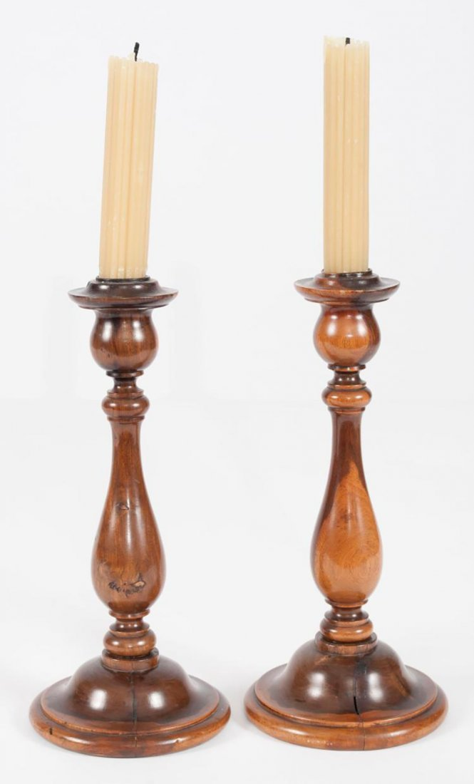 Pair of George III English Lignum Vitae Candlesticks - 2