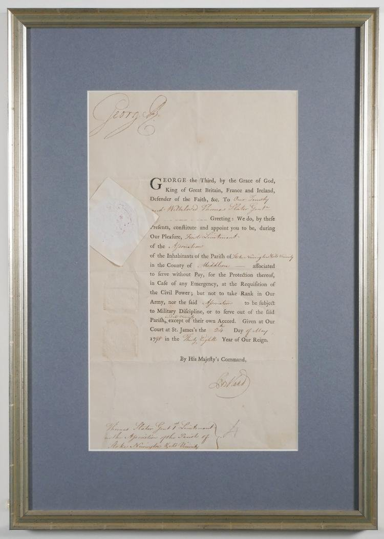 King George III Signed Document 1798