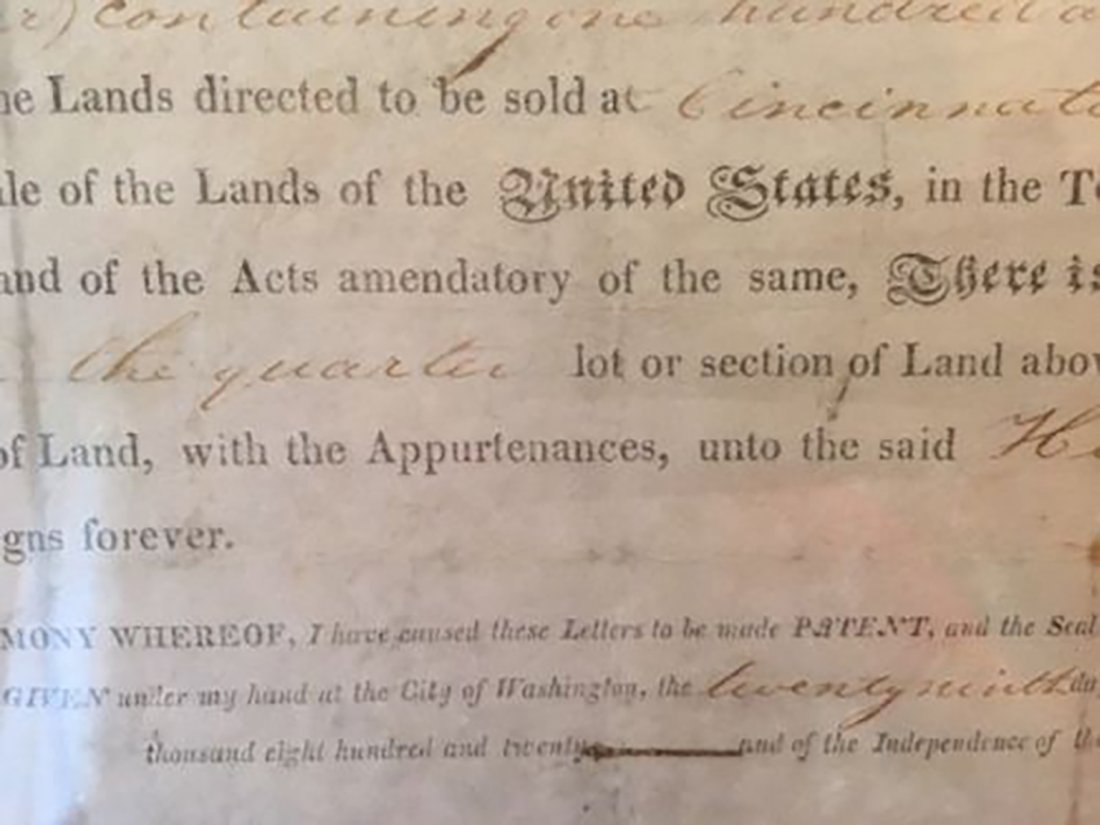 President James Monroe Signed Grant Dated 1820 - 10