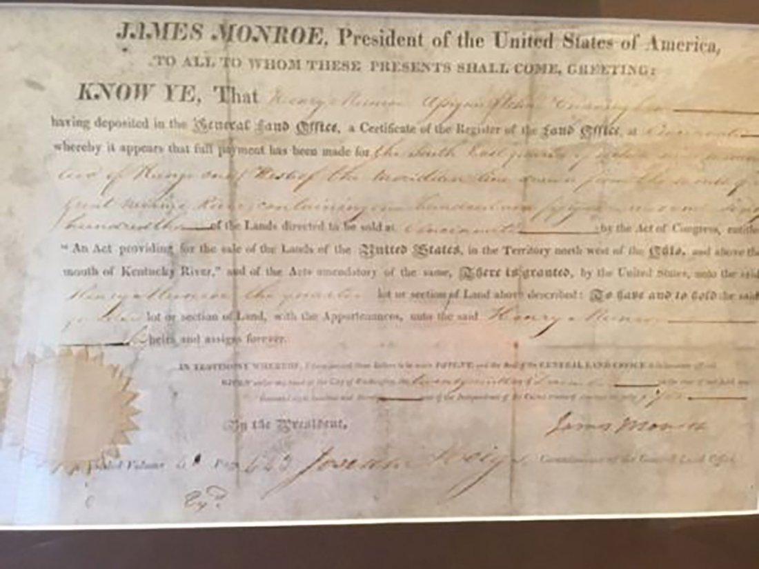 President James Monroe Signed Grant Dated 1820
