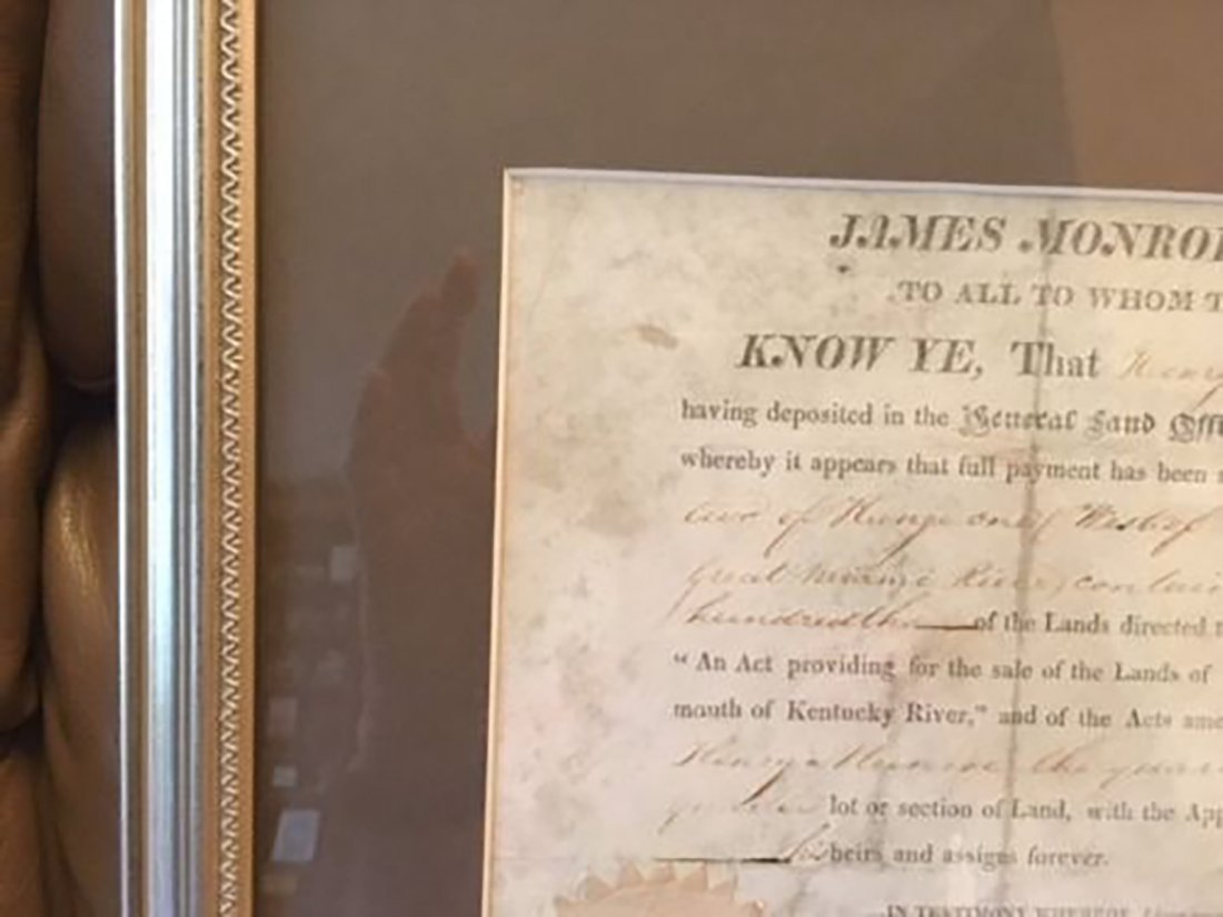 President James Monroe Signed Grant Dated 1820 - 2