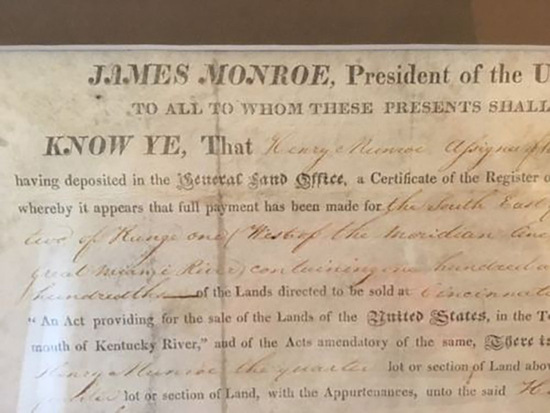 President James Monroe Signed Grant Dated 1820 - 3