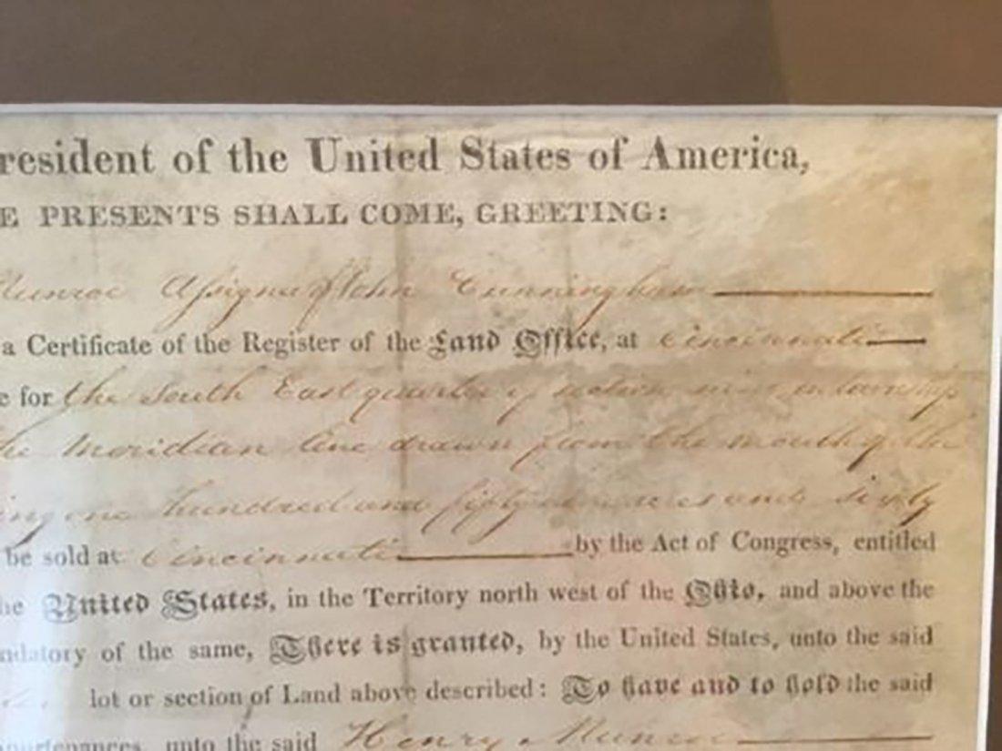 President James Monroe Signed Grant Dated 1820 - 4