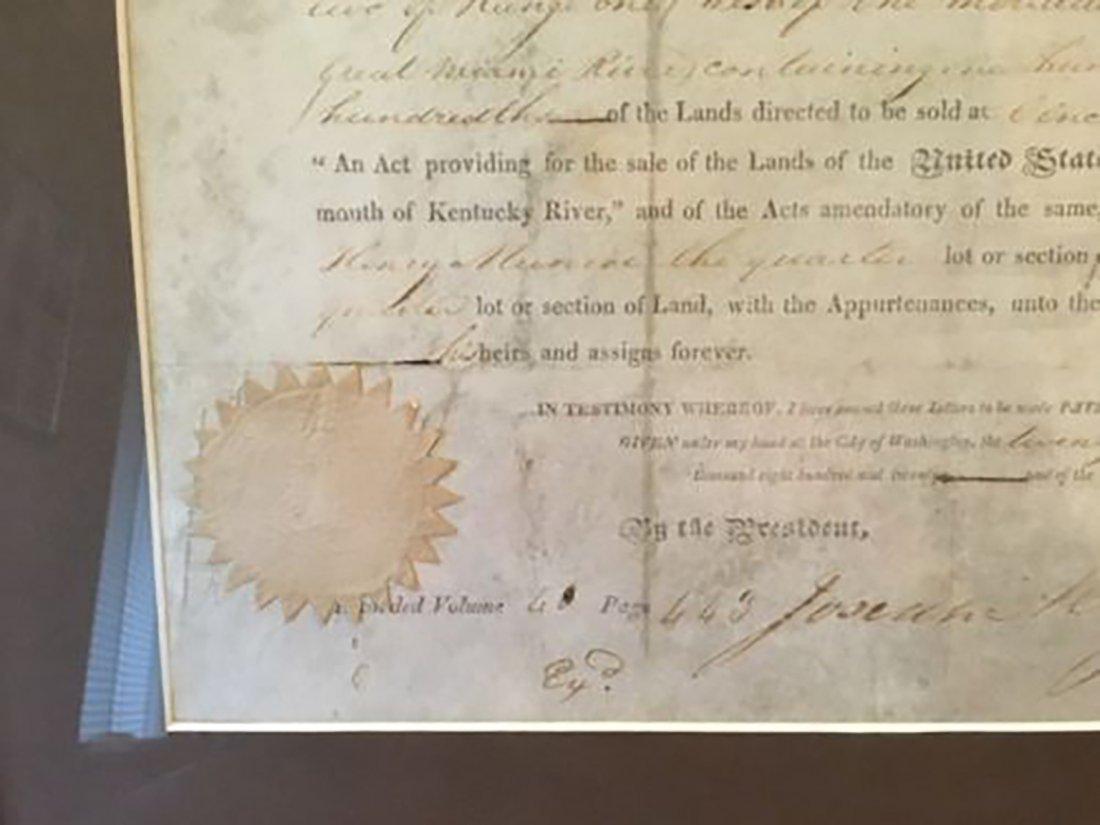 President James Monroe Signed Grant Dated 1820 - 5