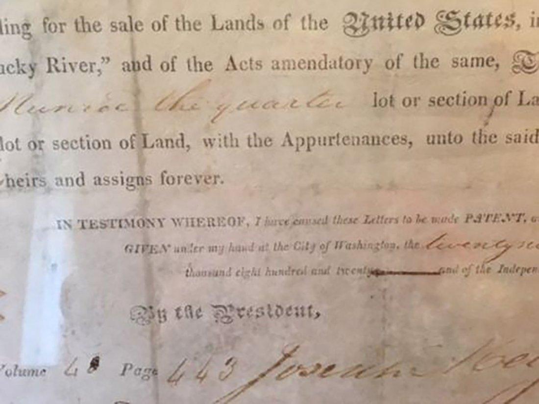 President James Monroe Signed Grant Dated 1820 - 8