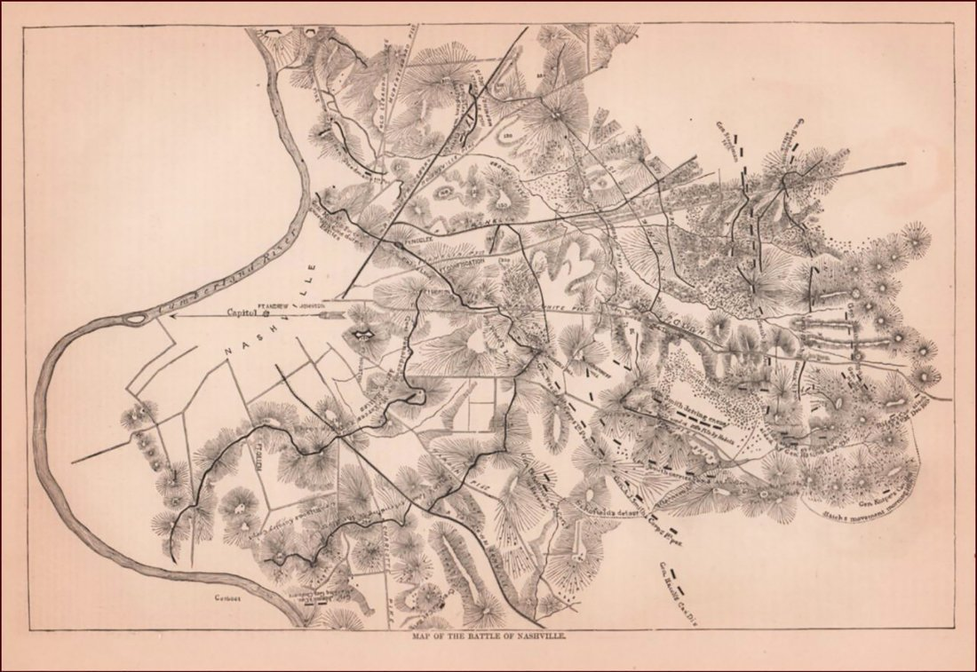 Rare Civil War Map of the Battle of Nashville Tennessee