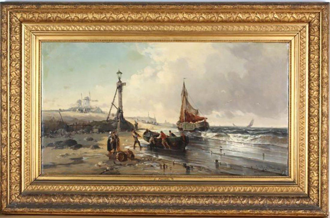 19th Century Marine Coastal Oil Painting by Mazzella