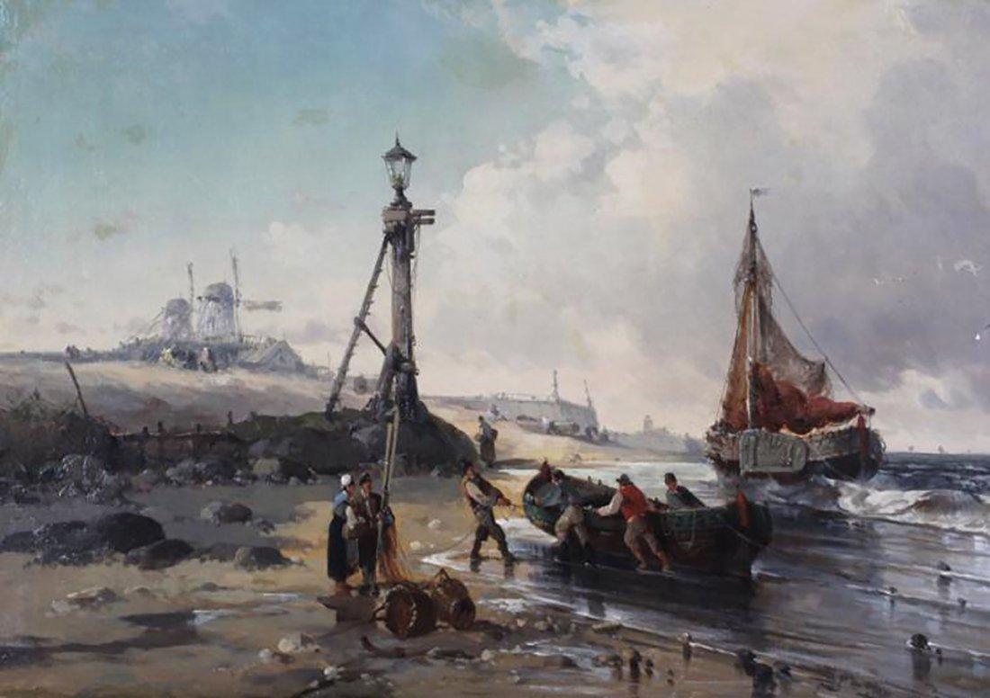 19th Century Marine Coastal Oil Painting by Mazzella - 2