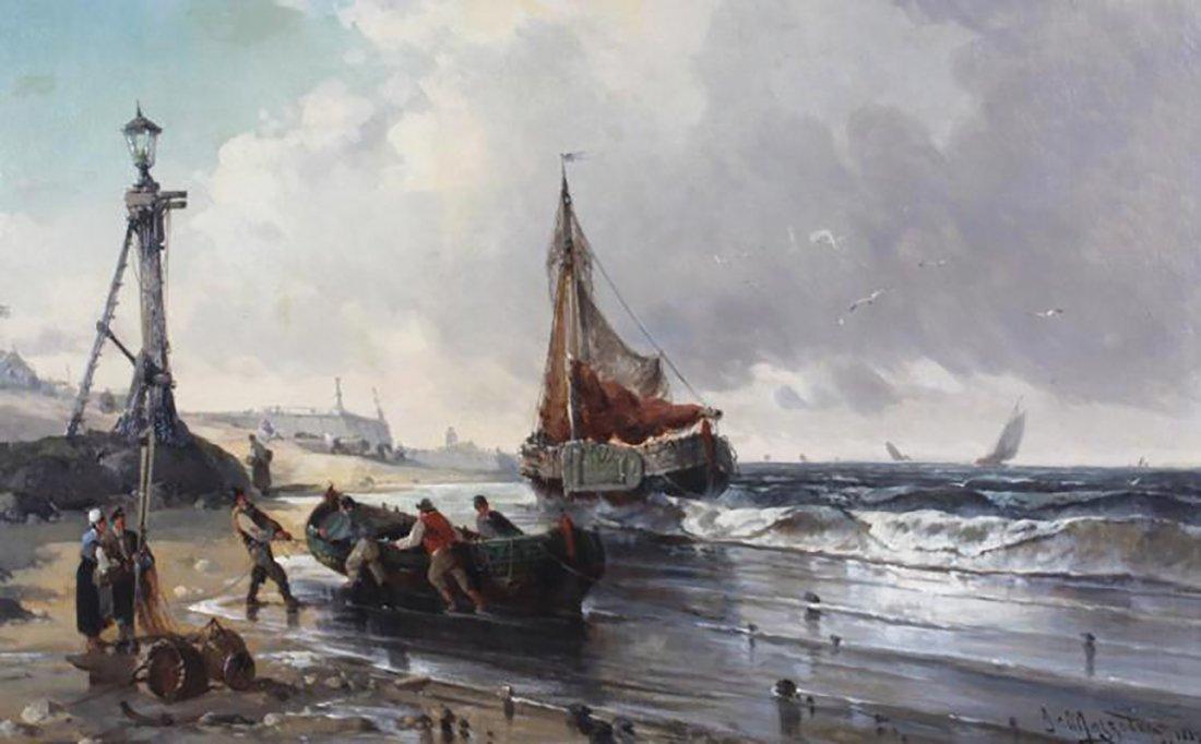 19th Century Marine Coastal Oil Painting by Mazzella - 3