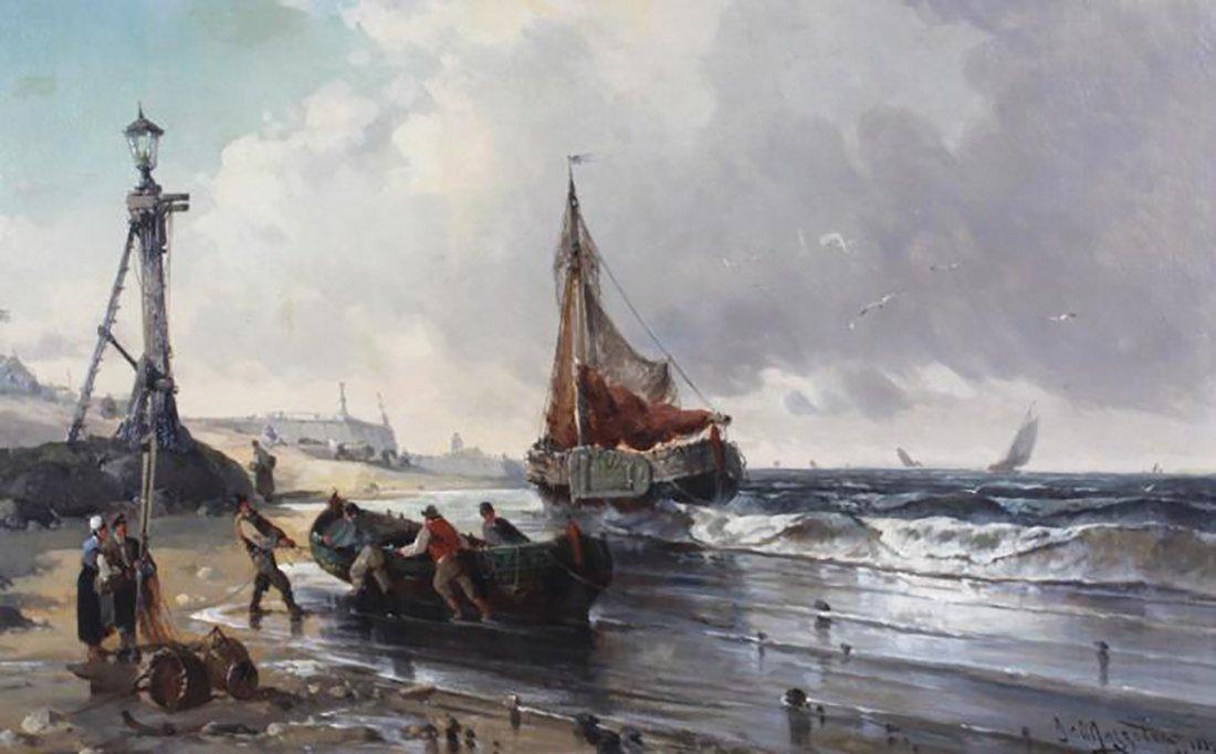 19th Century Marine Coastal Oil Painting by Mazzella - 4