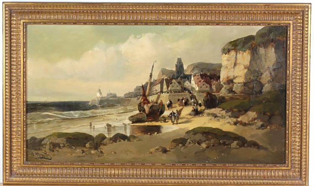 19th Century Marine Coastal Oil Painting Jean Mazzella