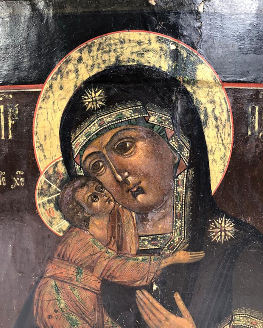 Russian Hand Painted Icon of Mary & Jesus