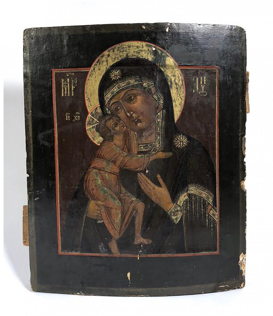 Russian Hand Painted Icon of Mary & Jesus - 2