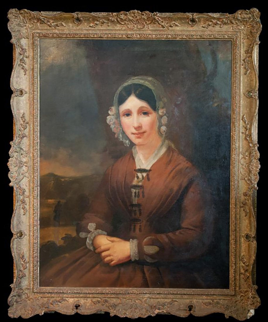 Large 19th Century Oil Portrait of a Young Lady