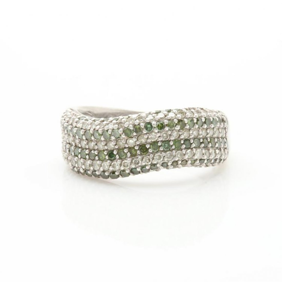 Green Diamond Ring with Accents in Sterling Silver