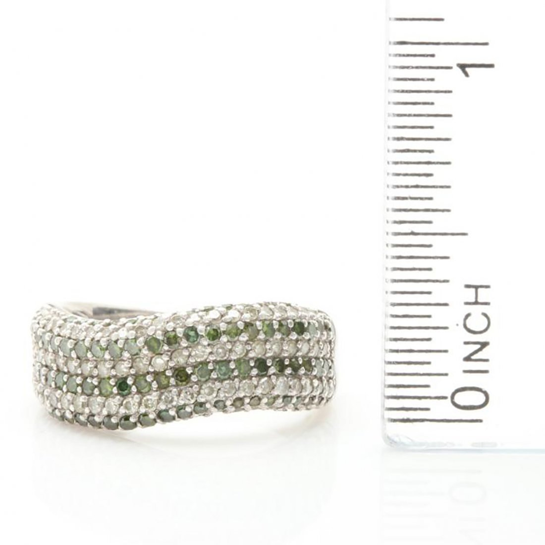 Green Diamond Ring with Accents in Sterling Silver - 2