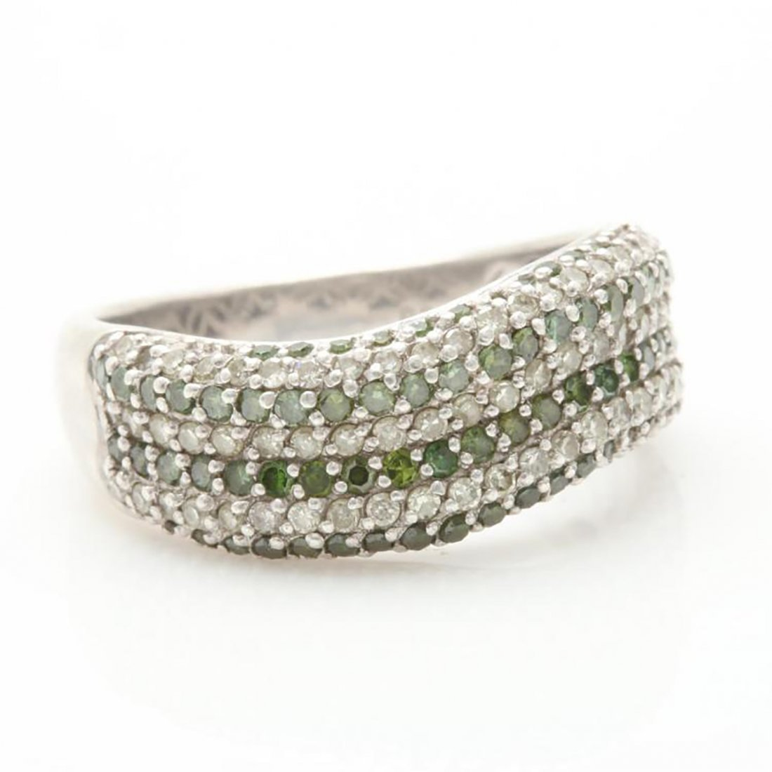 Green Diamond Ring with Accents in Sterling Silver - 3