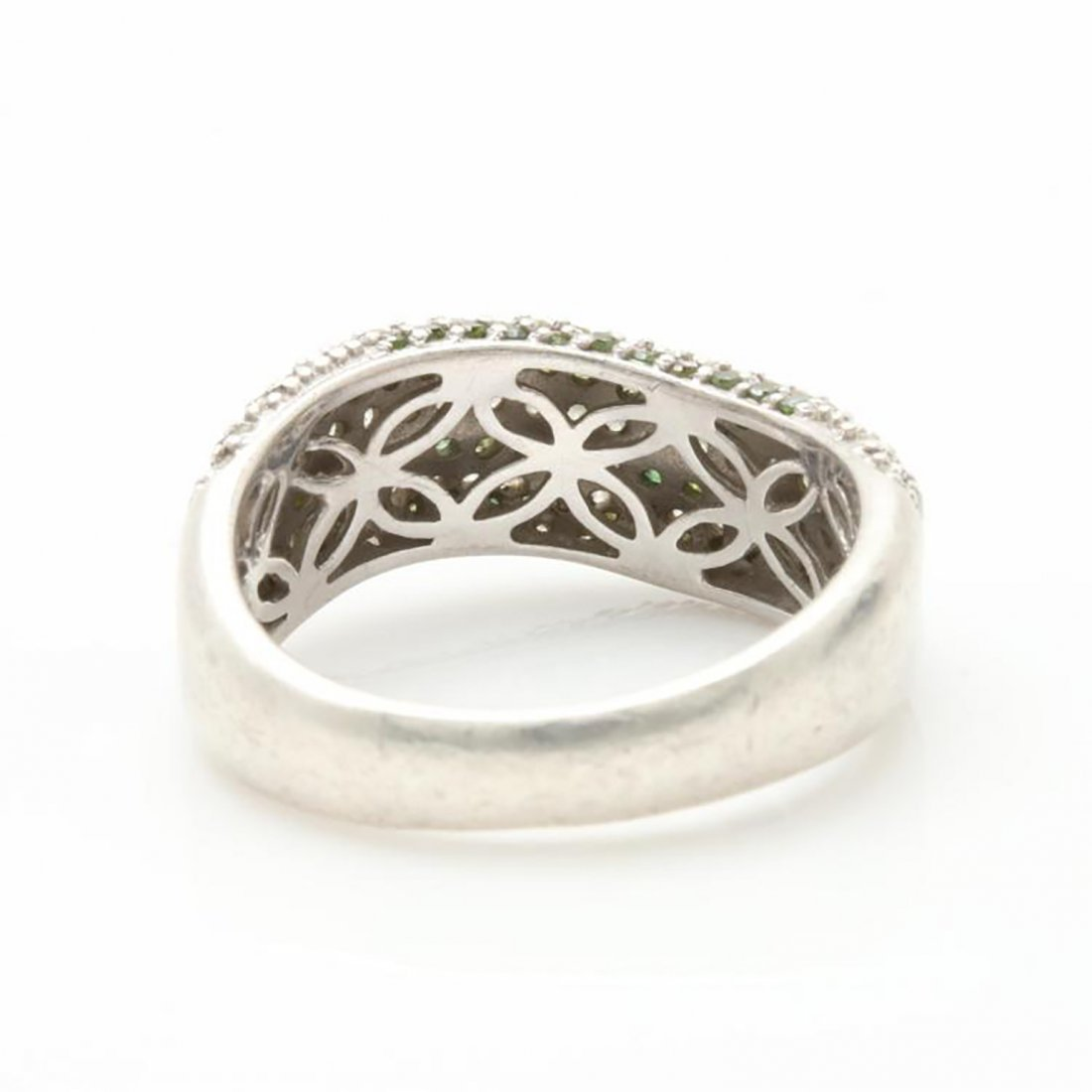 Green Diamond Ring with Accents in Sterling Silver - 4