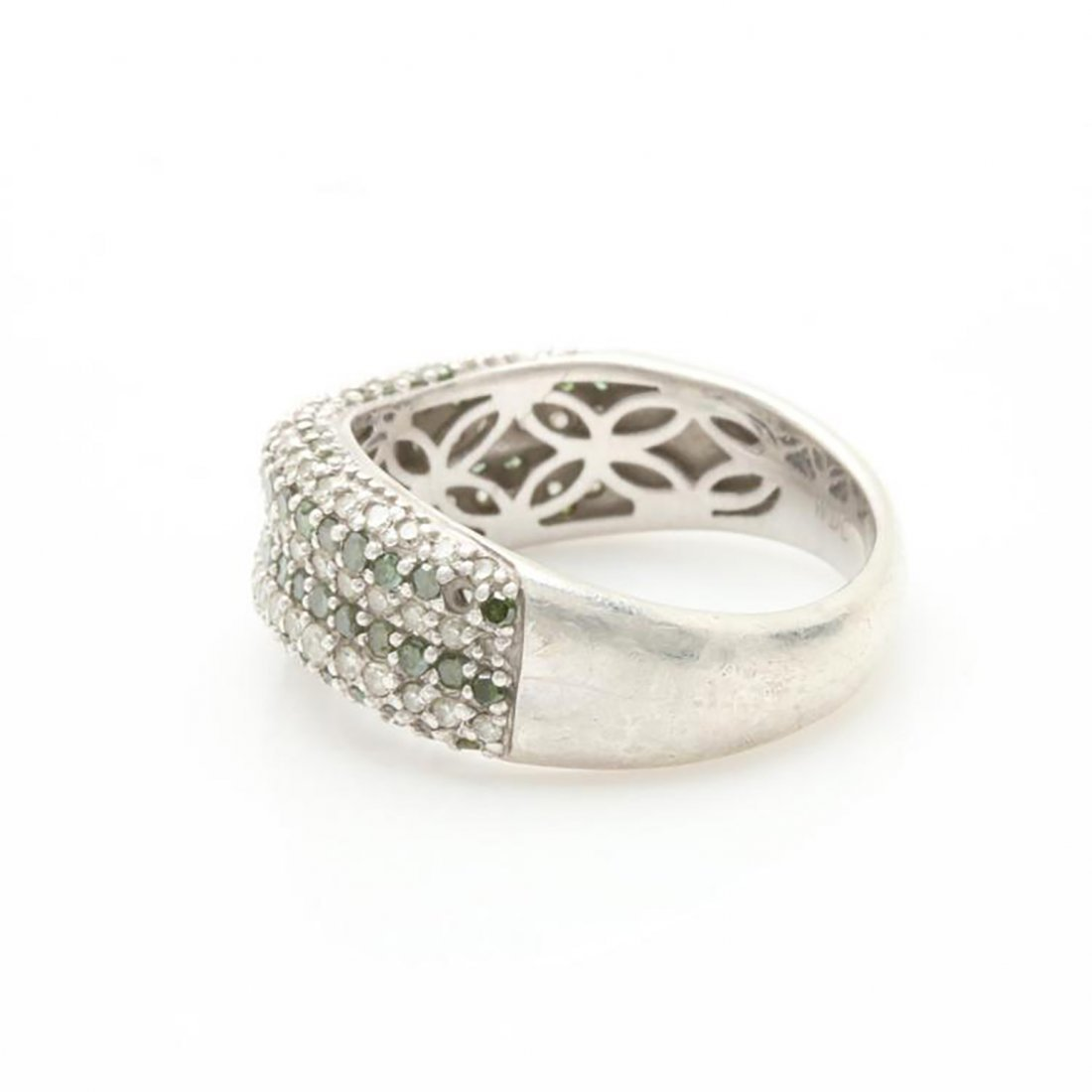 Green Diamond Ring with Accents in Sterling Silver - 5