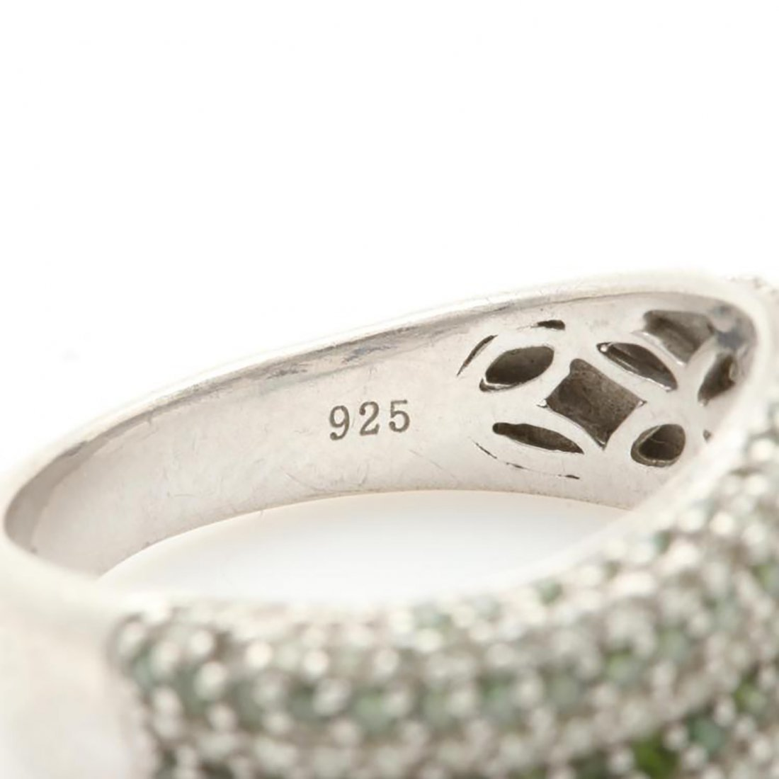 Green Diamond Ring with Accents in Sterling Silver - 6