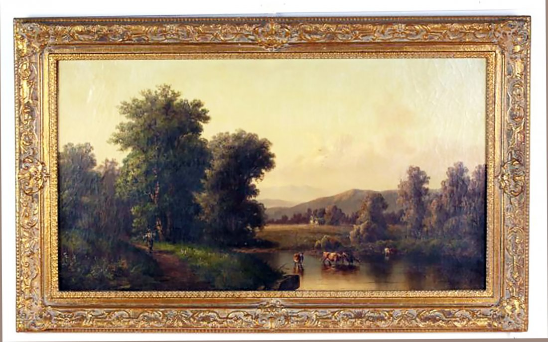 19th C. British Landscape Oil Painting by P. Rudecker