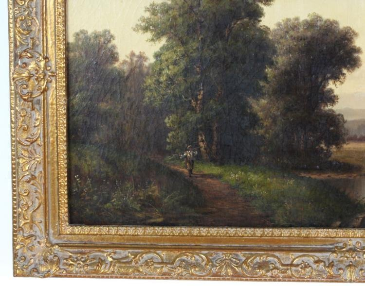 19th C. British Landscape Oil Painting by P. Rudecker - 4