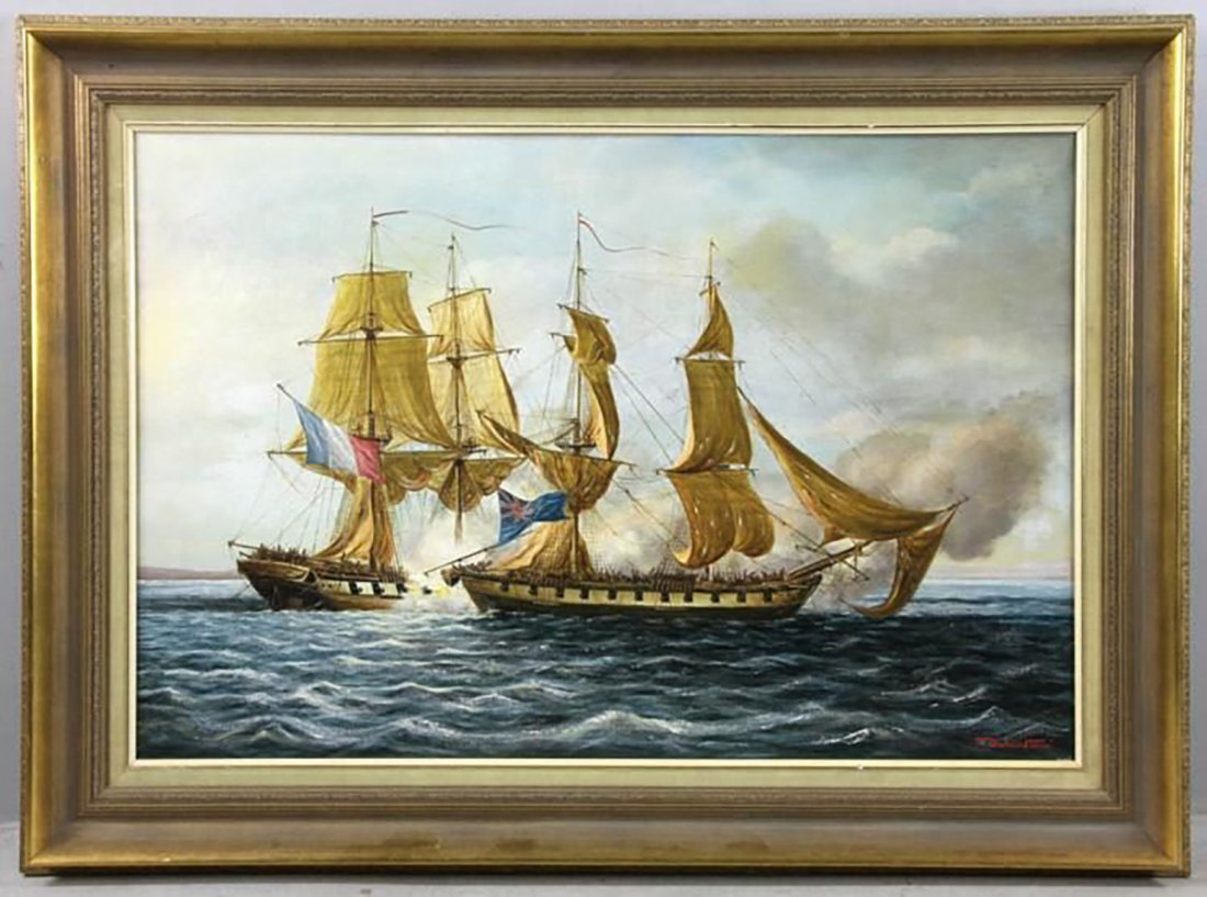 "Large English Oil Painting | ""Two Brigs Fighting"" - 2"