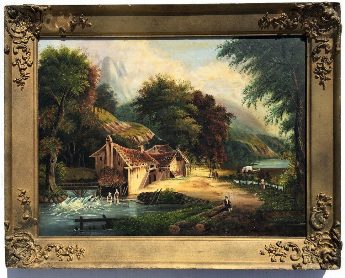 """19th Century Oil Painting Entitled """"The Old Gristmill"""""""