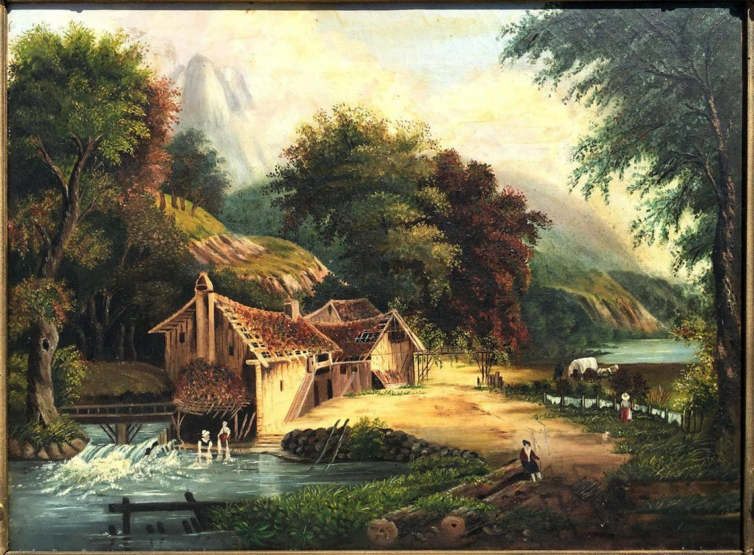 """19th Century Oil Painting Entitled """"The Old Gristmill"""" - 2"""