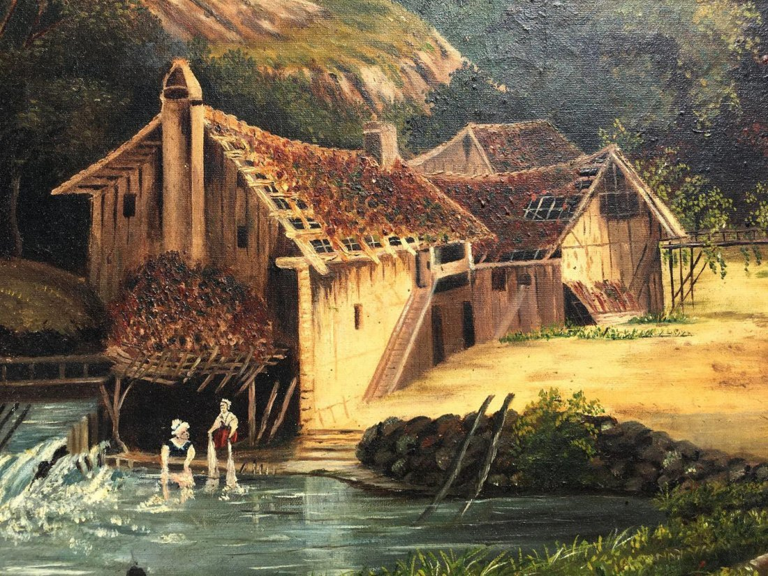 """19th Century Oil Painting Entitled """"The Old Gristmill"""" - 3"""
