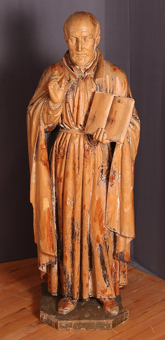 Antique 18th-19th Century Carved Wood Statue of Saint