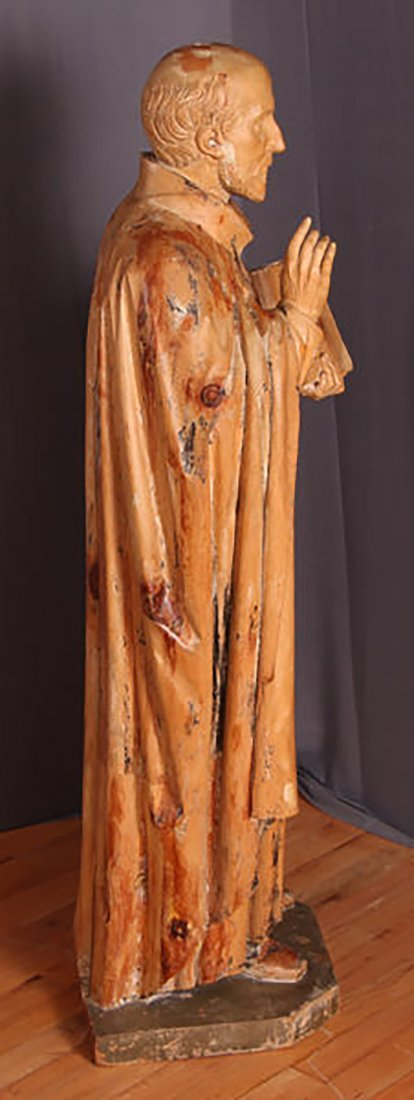 Antique 18th-19th Century Carved Wood Statue of Saint - 2