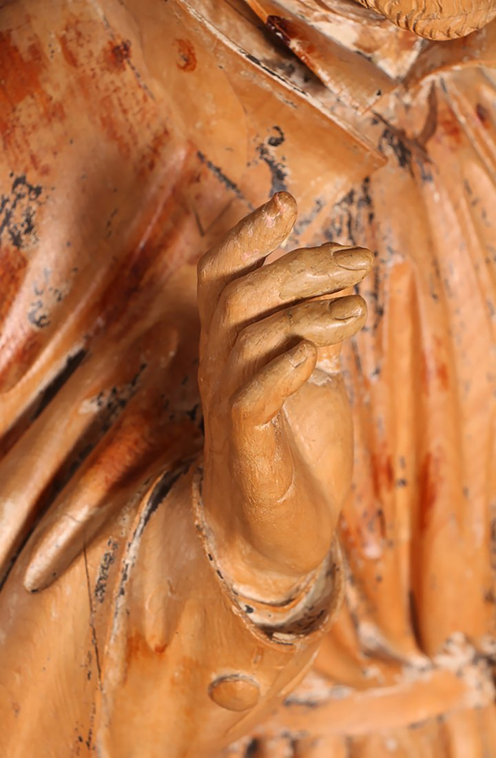 Antique 18th-19th Century Carved Wood Statue of Saint - 5