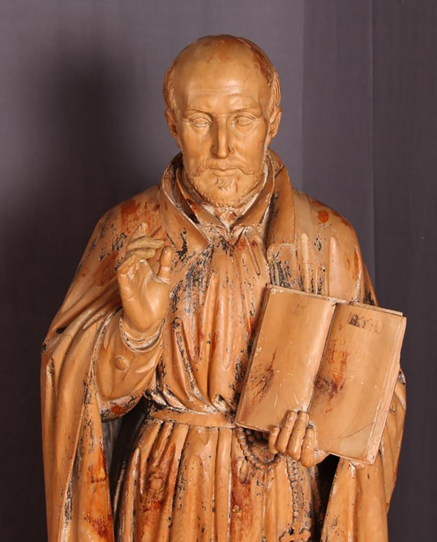 Antique 18th-19th Century Carved Wood Statue of Saint - 7