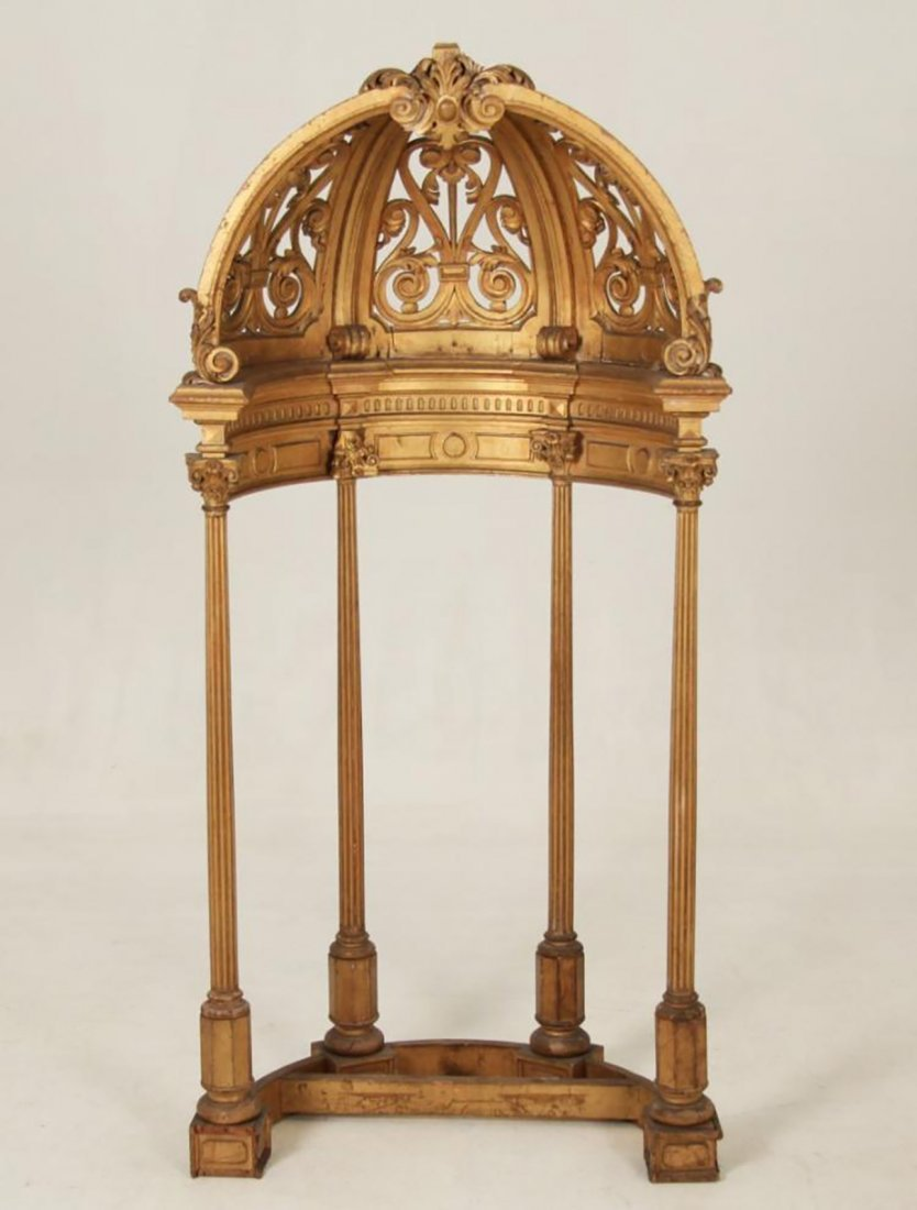 Rare 18th Century Carved Giltwood Dome Top Alterpiece