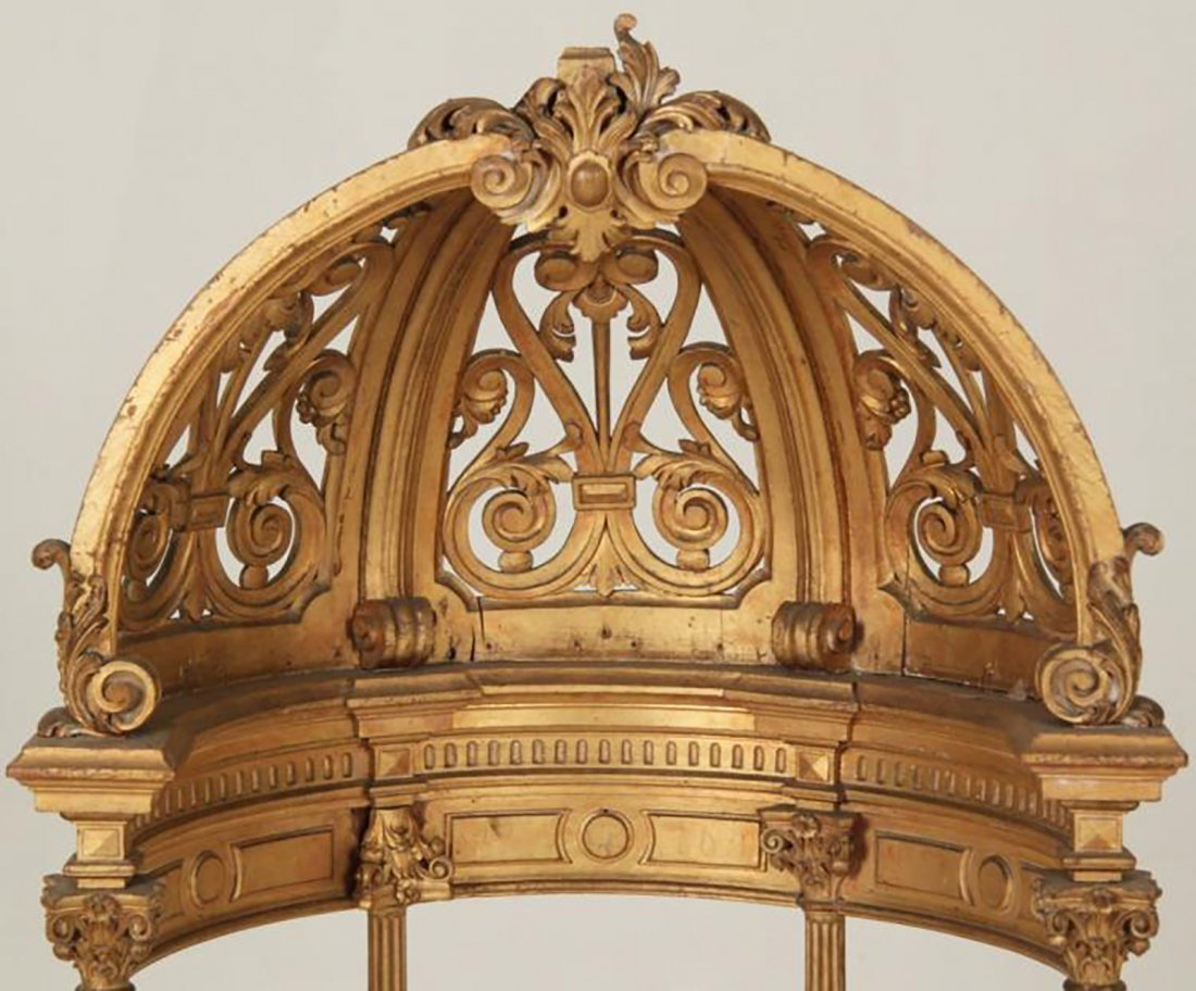 Rare 18th Century Carved Giltwood Dome Top Alterpiece - 2