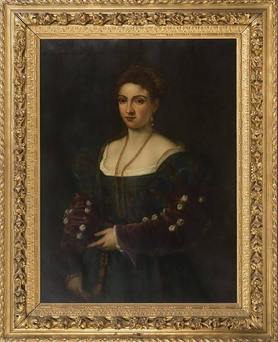 "18th-19th Century Oil Painting After Titian ""La Bella"""