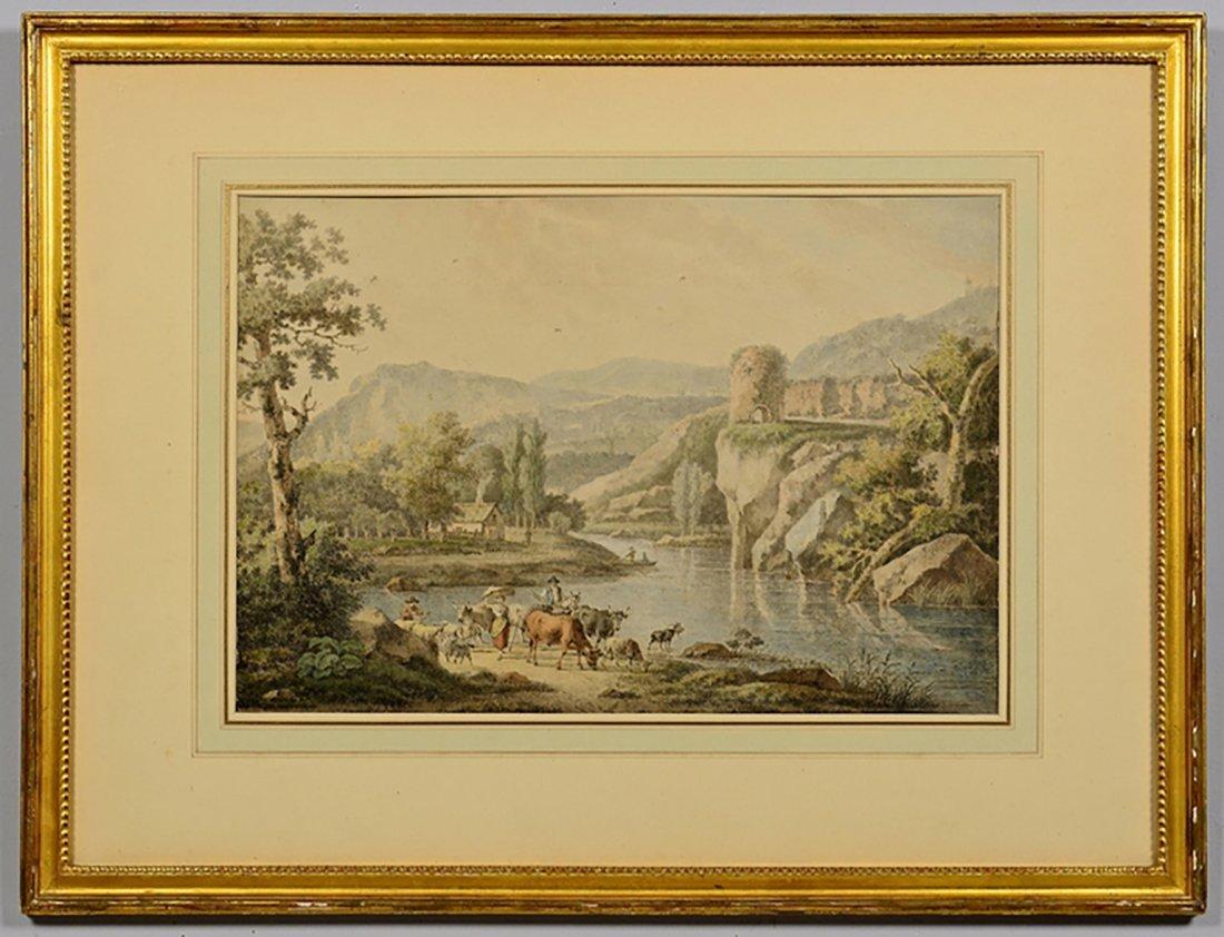 18th Century Henrious Josephus Antonissen Watercolor