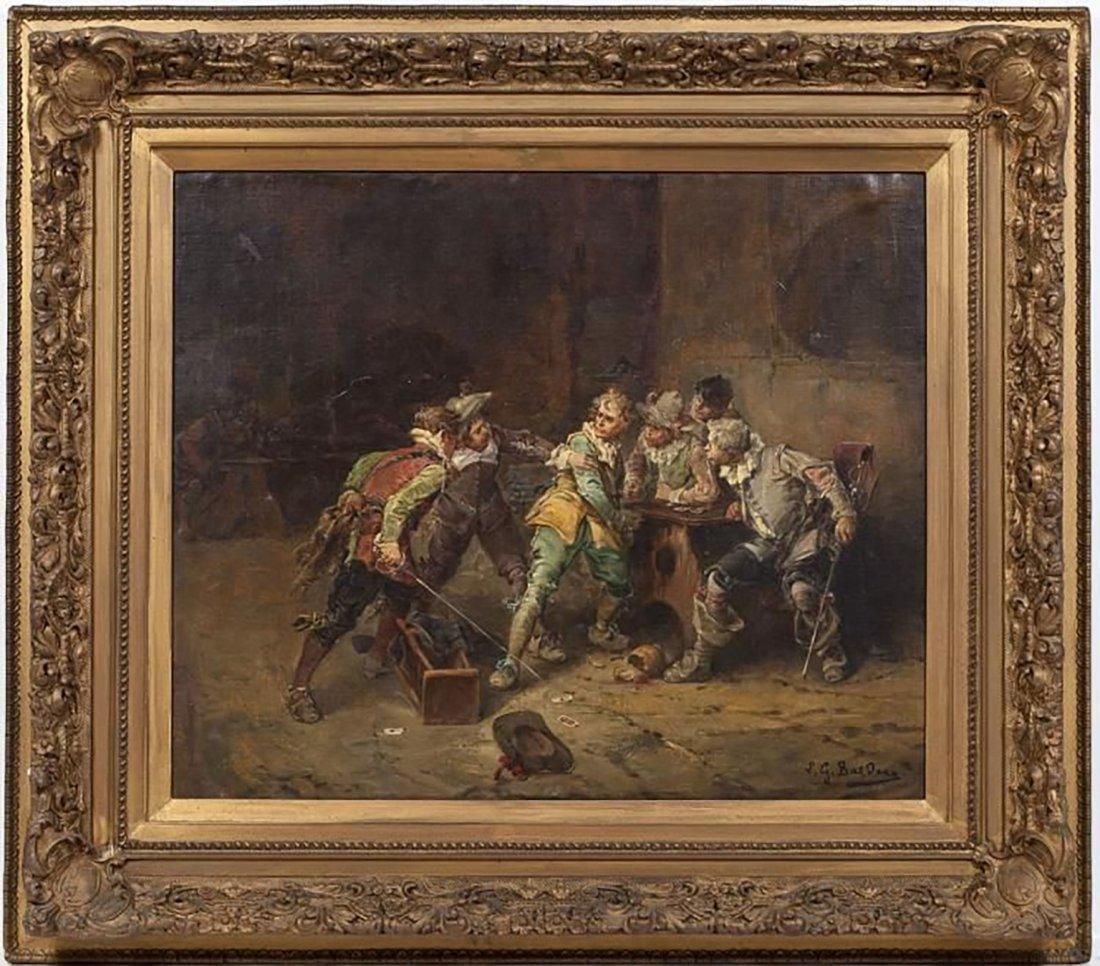"Italian Painting by Giorgio Baldero ""Tavern Brawl"""