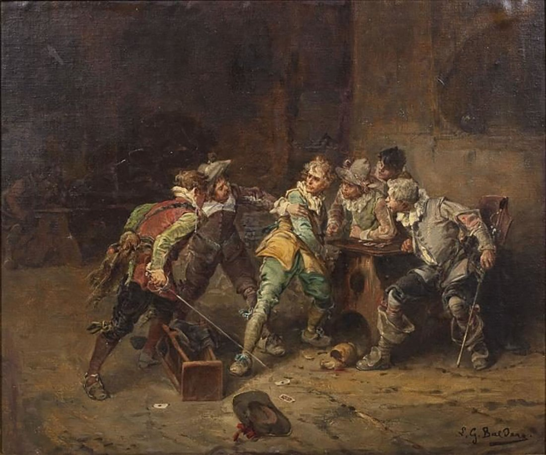 "Italian Painting by Giorgio Baldero ""Tavern Brawl"" - 2"