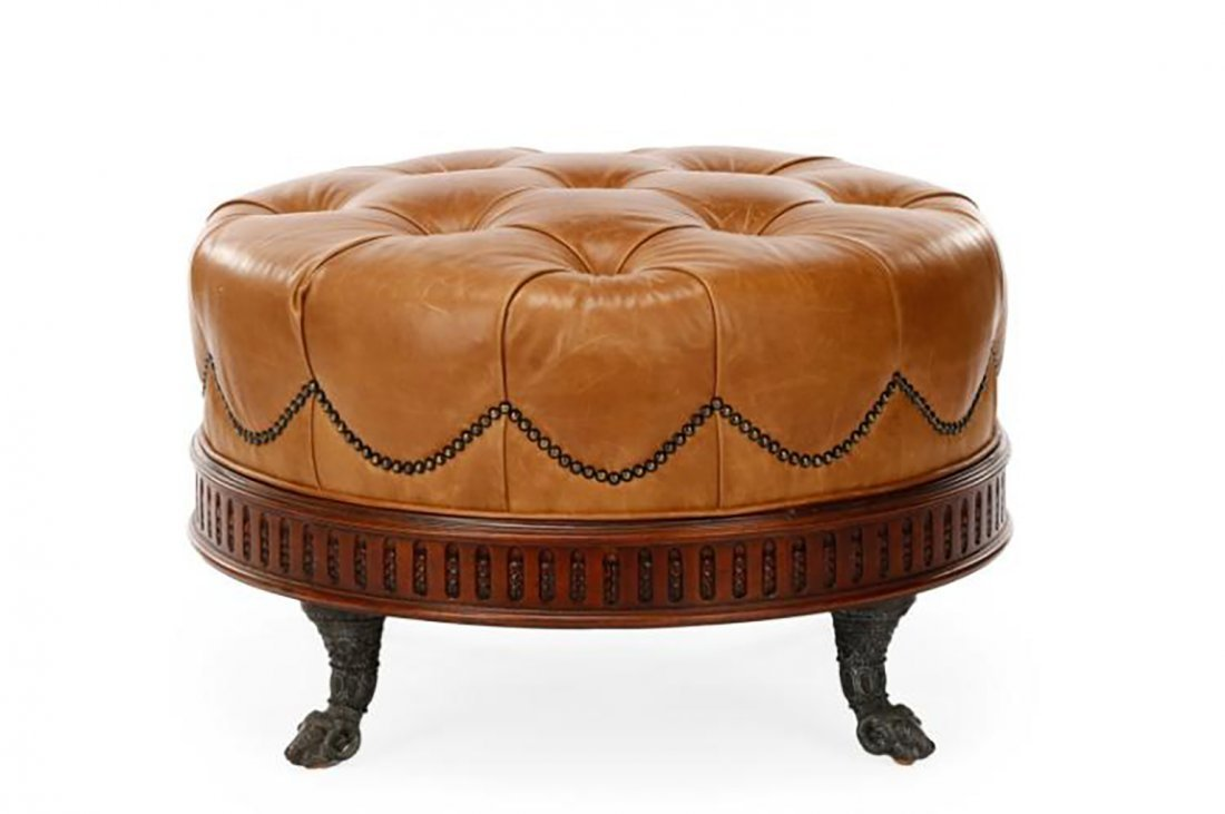Lovely Brown Leather Tufted Ottoman