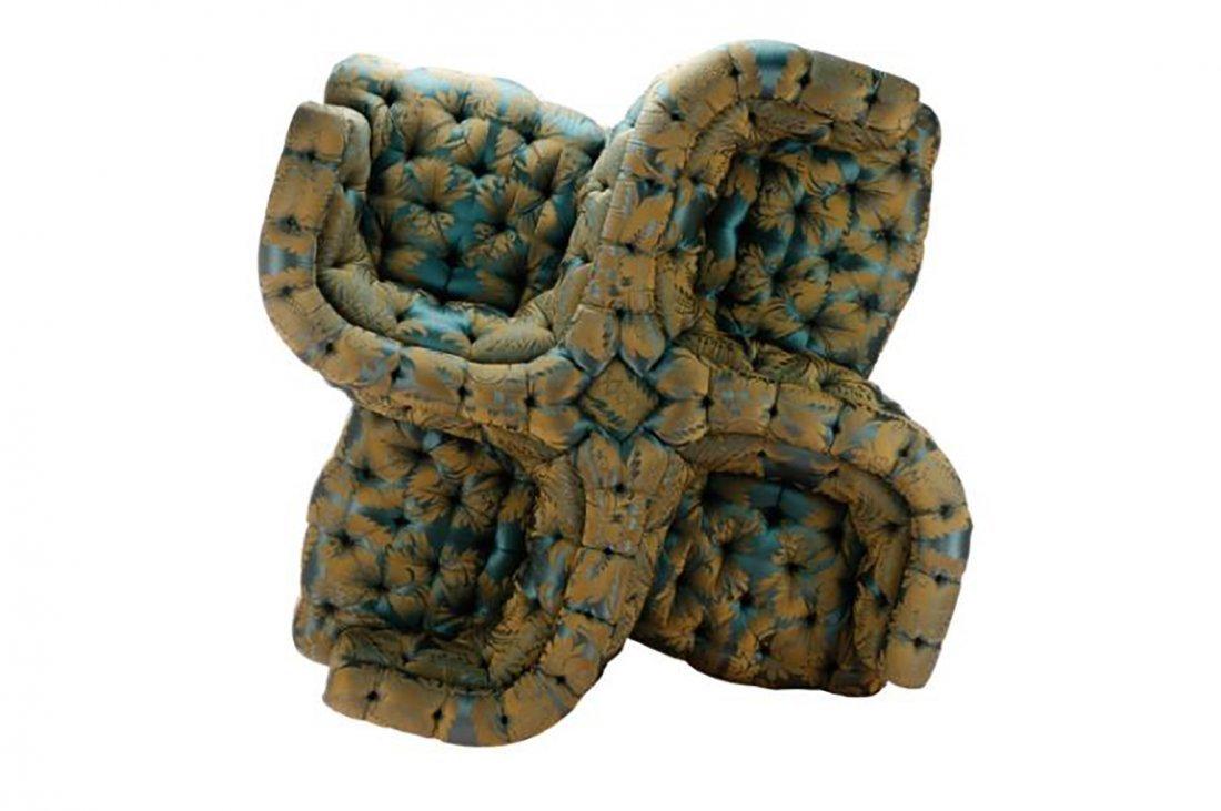 Custom Tufted Silk Damask Tete-a-Tete